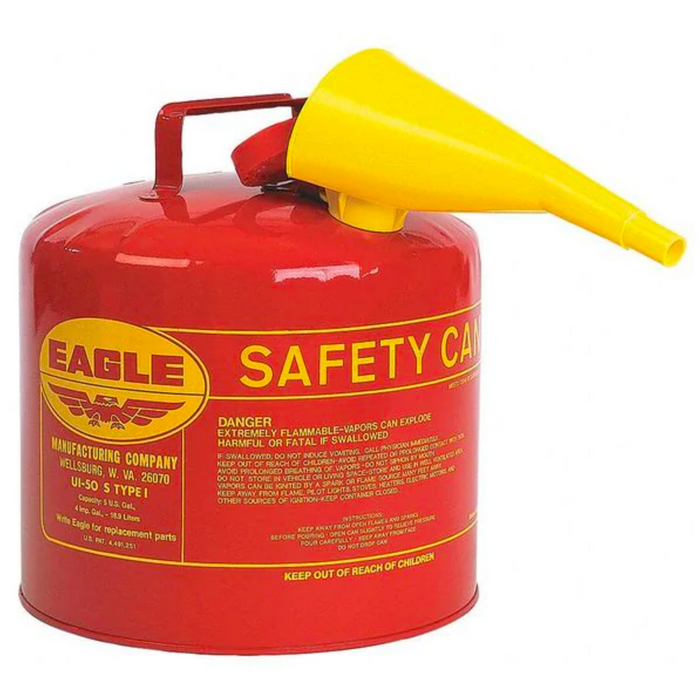 5 Gallon Red Safety Gas Can w/ Funnel