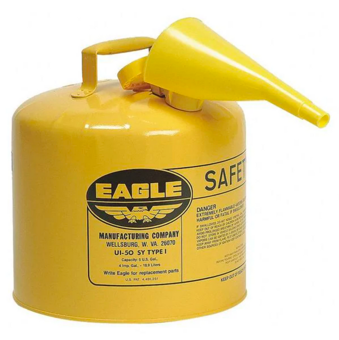 5 Gallon Yellow Safety Diesel Gas Can w/ Funnel