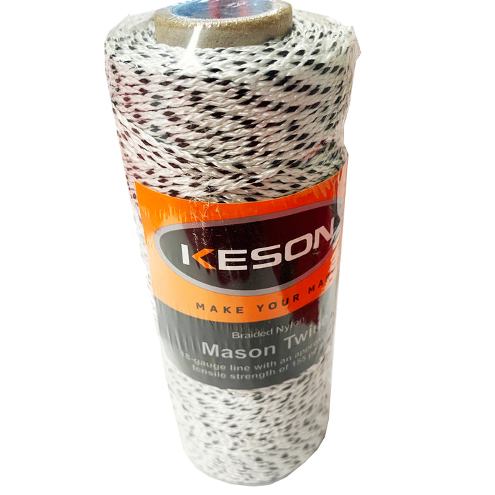#18 Braided Nylon Mason Twine | Black/White | 500'