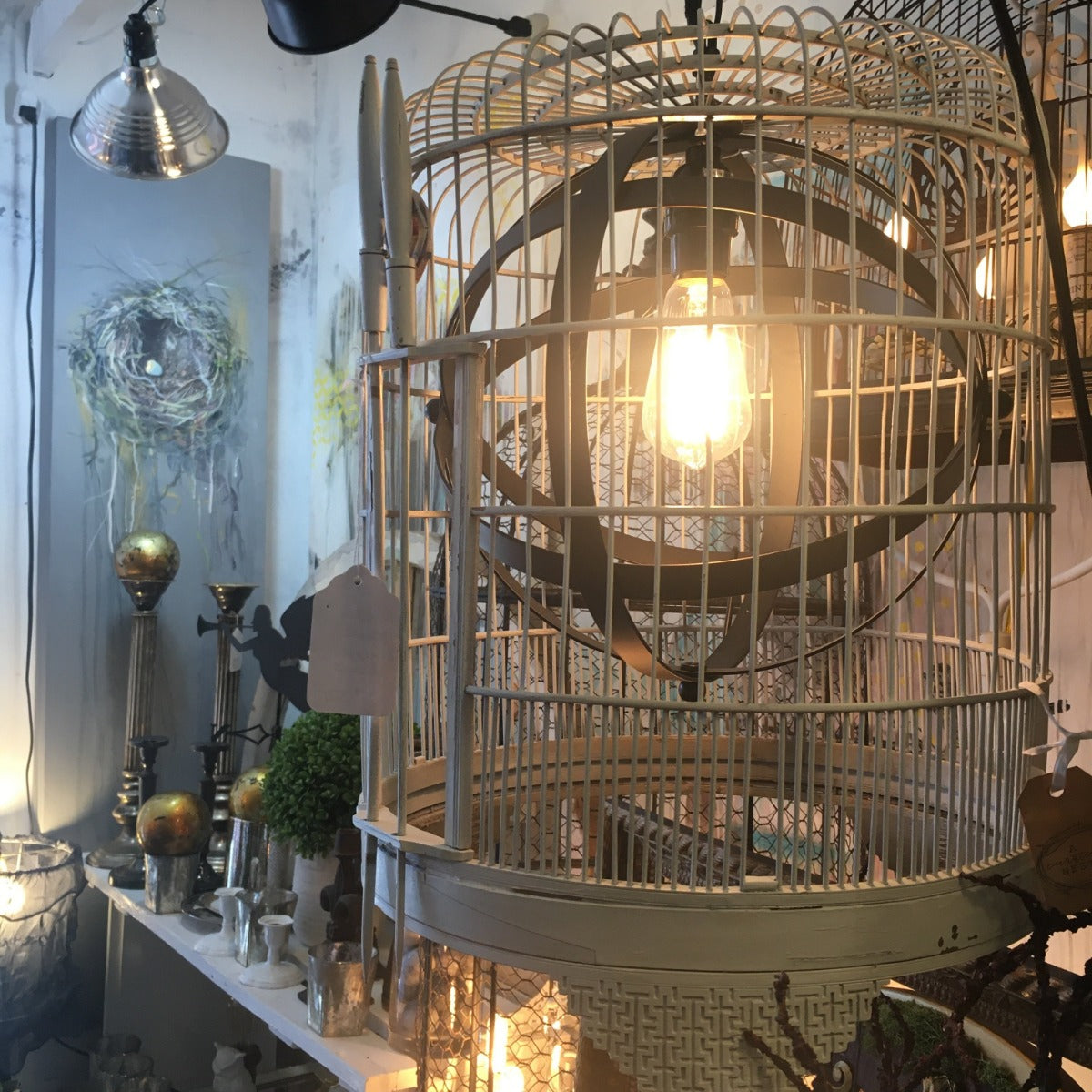 Lamp - Antique Asian-Market Birdcage Plug-In Lamp