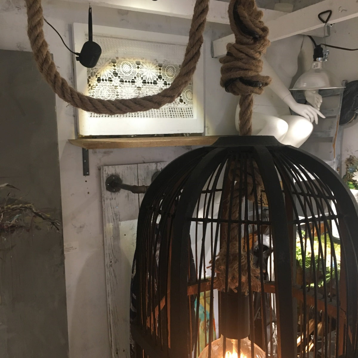 Lamp - Antique Wooden Birdcage Upcycled to Plug-In Lamp