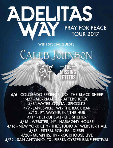 CONCERT TICKET 2017: 04-09-17: ADELITAS WAY w/ Caleb Johnson,  Devils Run & The Missing Letters + Haliwel & Silent Redemption