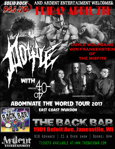 CONCERT TICKET 2017: 04-07-17 - DOYLE of The MISFITS w/ Element a440 + Cold Black, Faster Faster Faster, Bury the Enemy & Dystopian Echo