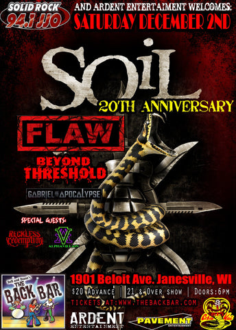 CONCERT TICKET 2017: 12-02-17 - SOIL & FLAW w/ Beyond Threshold & Gabriel & the Apocalypse