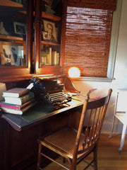 typewriter, secretary desk, ladder back chair, vintage, furniture, pretty funny vintage, tarrytown NY, hudson valley