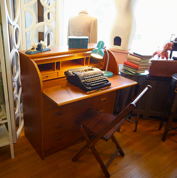 antique secretary desk and vintage typewriter picture