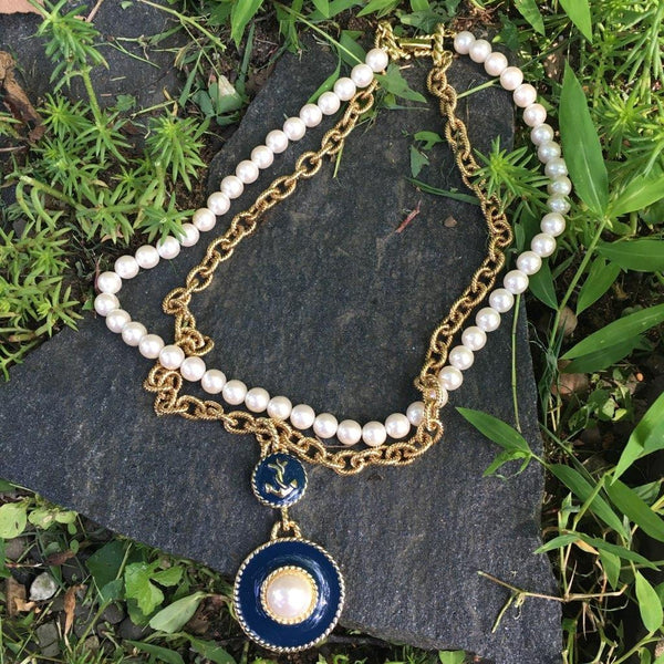 P114 - Poil, Nautical Enamel Pearl Necklace