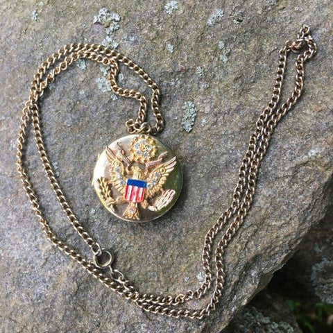 Patriotic Eagle Locket Necklace