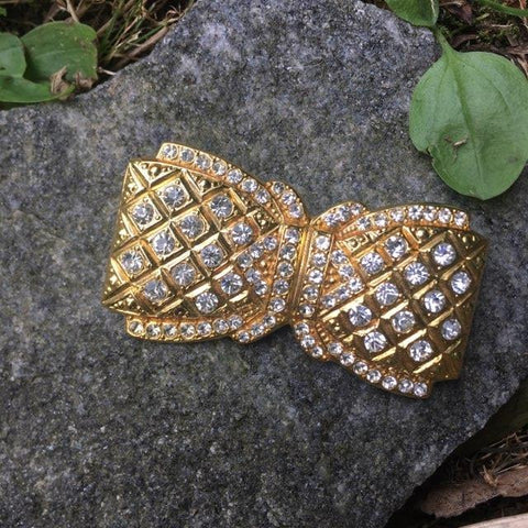 Rhinestone Bow Pin in Goldtone