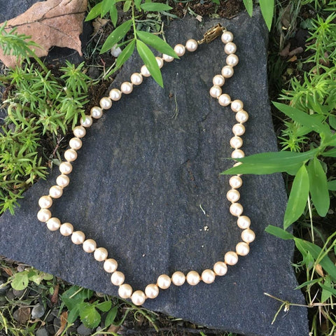 P125 - Poil/Pearls: Single Strand Goldtone Clasp Necklace