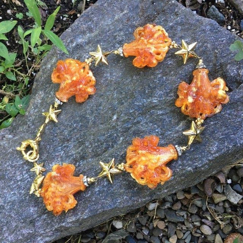 S226 - Floral Orange Bouquet and Stars Necklace