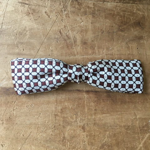 Vintage Brown & White Patterned Clip on Bowtie