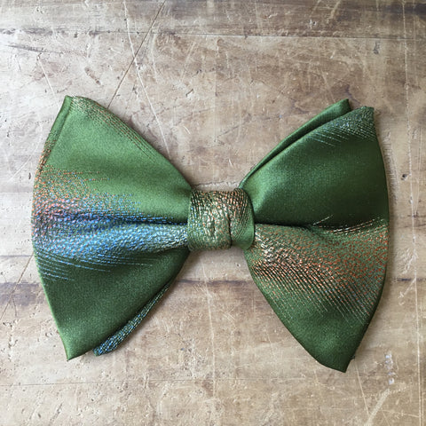 Vintage Green Iridescent Clip on Bowtie