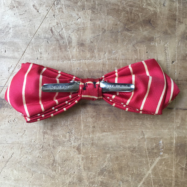 Vintage Red & White Striped Clip on Bowtie