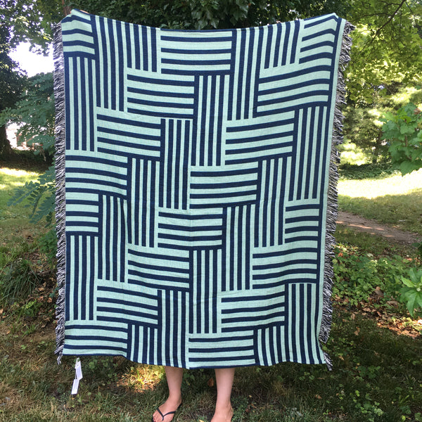 Decorative Woven Cotton Throw - 5' x 4'  (Optical)