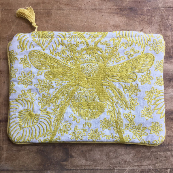 Yellow & Cream Embroidered Bee Zipper Pouch