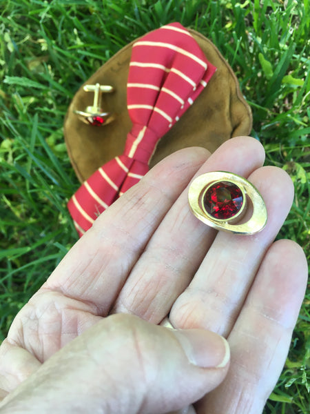 1960's Vintage Faceted Red Glass Gem Swank Cufflinks