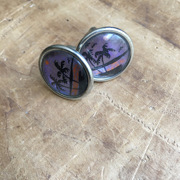 Vintage Beach Scene Palm Tree Silhouette Cufflinks