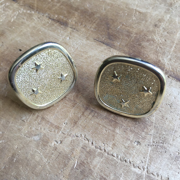 1960's Vintage Gold-Tone Square Star Cufflinks