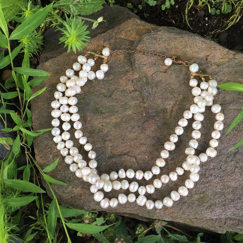 P102 - Poil, 3 Strand Freshwater Pearl Necklace
