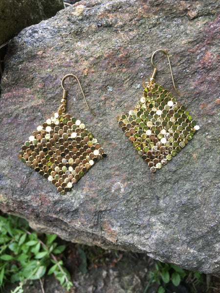 S116 - Goldtone Metal Mesh Earrings