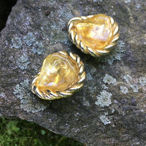 S148 - Light Yellow Hard Candy Clip on Earrings