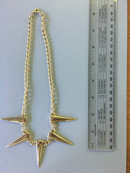 1980's Goldtone Spikes Necklace