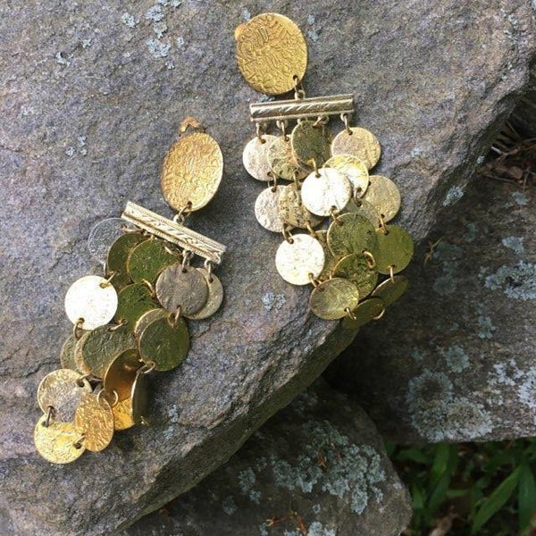 T131 - Bohemian Goldtone Clip Earrings