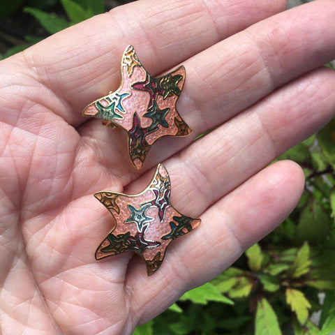 Enamel Look Star Clip Earrings