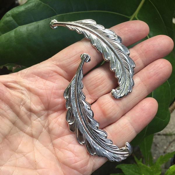 Feather Earrings in Silvertone