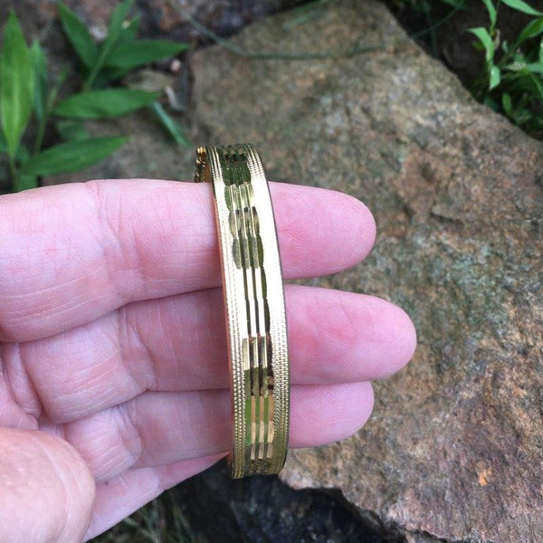 S208 - Etched Goldtone Bangle