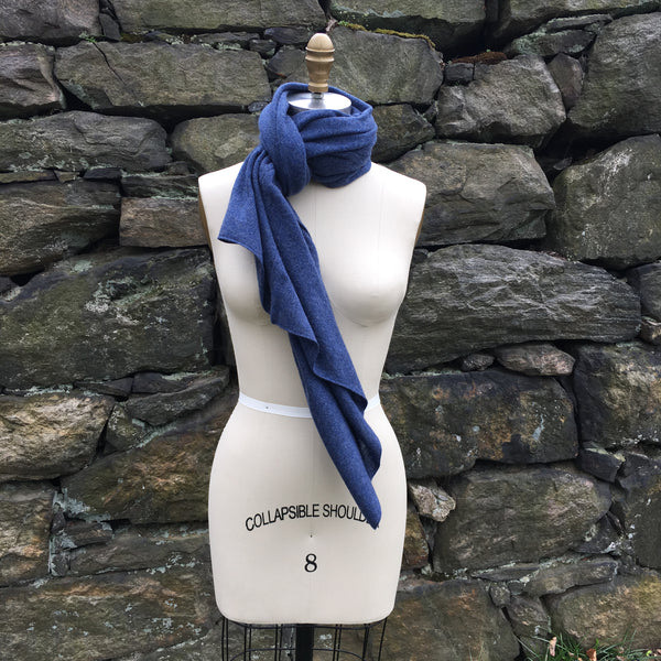 Cashmere Scarf Shawl Topper - Denim Blue