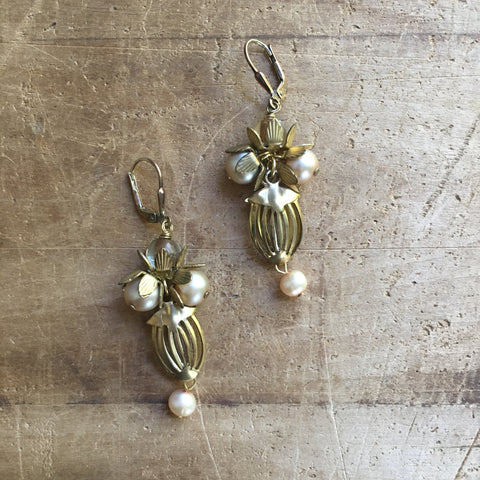 Freshwater Pearl and Brass Earrings by JoLi (PBc)