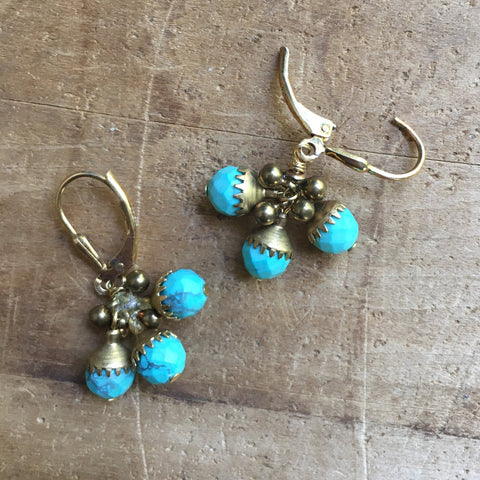 Faceted Turquoise Earrings by JoLi (3Ct)