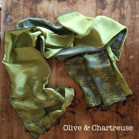 100% Silk Olive & Chartreuse Scarf w/ Gorgeous Details
