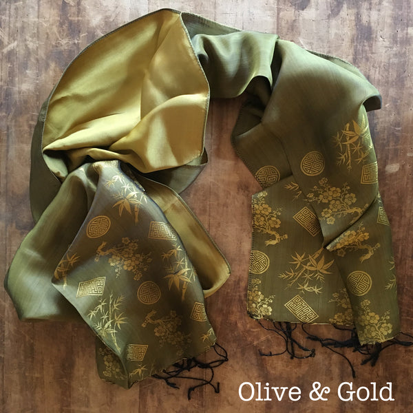 100% Silk Olive & Gold Scarf w/ Gorgeous Details