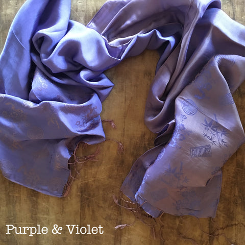 100% Silk Purple & Violet Scarf w/ Gorgeous Details