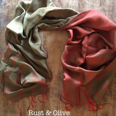 100% Silk Rust & Olive Scarf w/ Gorgeous Details