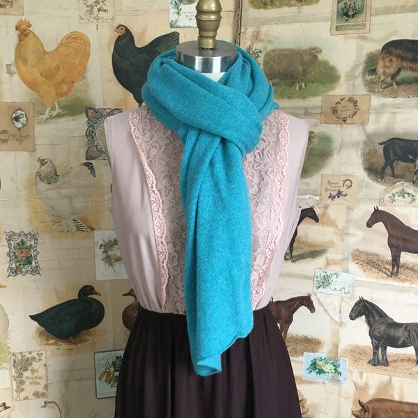 Cashmere Scarf Shawl Topper - Turquoise