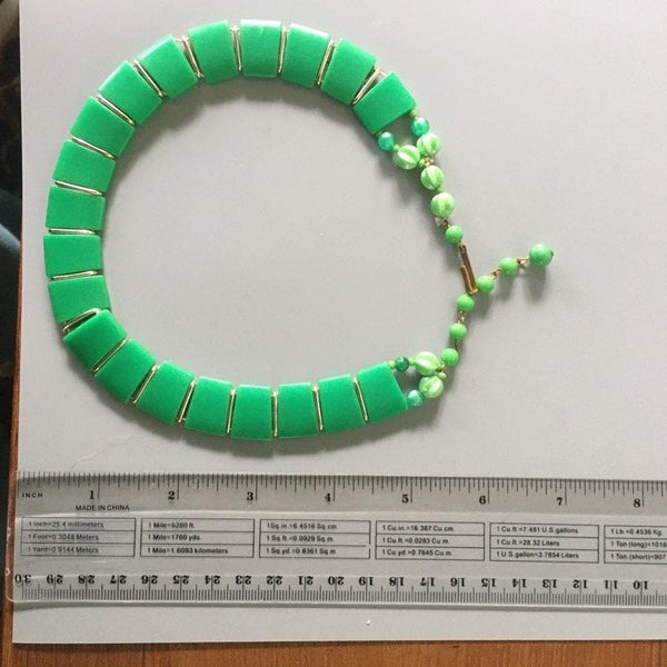 S210 - West Germany Green Plastic Collar Necklace