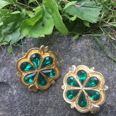 Stunning Faux Emerald Ear Clips in Goldtone