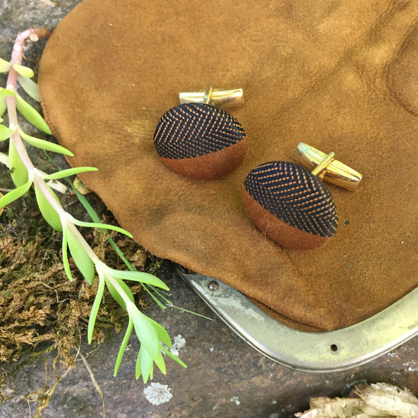 19070's Vintage Brown/Black Pattern Fabric Coated Cufflinks