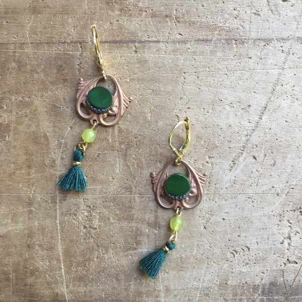 Marcasite & Olive Jade Earrings by JoLi (FRgr)