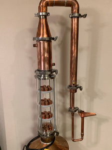 "4"" Glass/copper column with bubble cap plates - American Distilling Equipment"