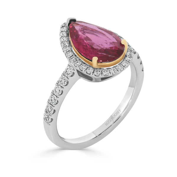 Natural Red Pear Shape 1.21ct Ruby Ring