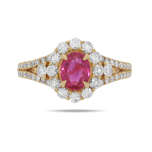 Natural Red Ruby and Diamond Ring