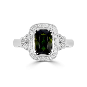 Vintage Green Tourmaline Halo Ring