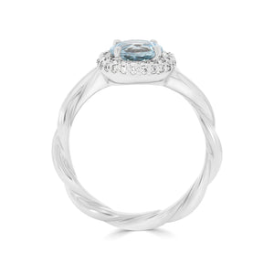 Aquamarine & Diamond Twist Band Ring