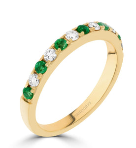 Emerald & Diamond Yellow Gold Anniversary Ring