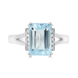 Aquamarine & Diamond Dress Ring